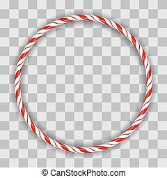 Sweet Striped Candy Circle Frame on Checkered Background