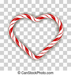 Sweet Striped Candy Heart Frame on Checkered Background