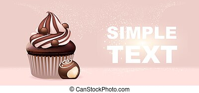 Sweet stuff realistic vector product ads banner template. ...