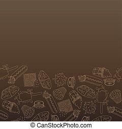 Sweet-stuff set - (Colour, beige lines, white lines label), Stickers, (Colour, beige lines, white lines patterns)