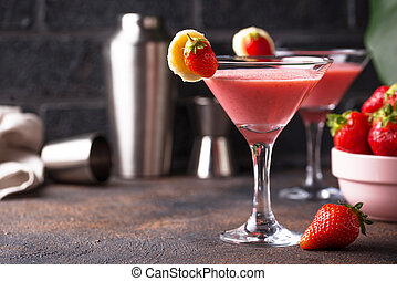 Sweet summer strawberry alcoholic cocktail for party