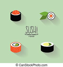 Sweet Sushi Labels - abstract japanese food on a green...