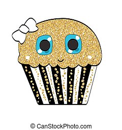Sweet Tasty Cupcake Vector Illustration