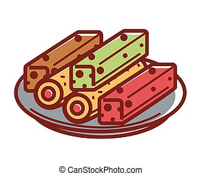 Sweet tasty lokum on plate isolated illustration