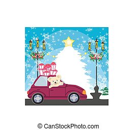 sweet teddy bear in the car with christmas gift box