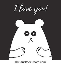 Sweet teddy bear with I love You note vector illustration black and white.