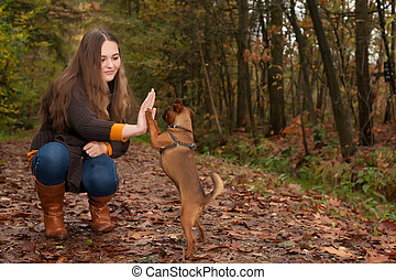 Sweet teenager and her dog
