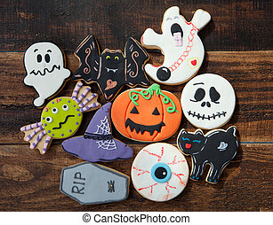 Funny cookies on a wooden background