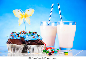 Sweet theme with home baked - Sweet concept of muffins