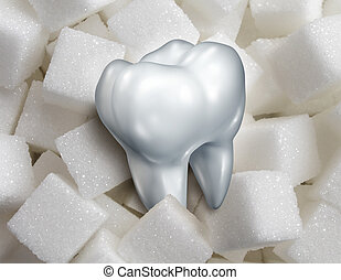 Sweet Tooth - Sweet tooth dental health care concept with a...