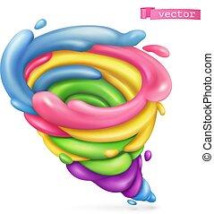 Sweet tornado. 3d vector icon