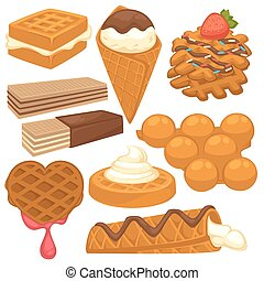 Sweet treats with delicious waffles isolated illustrations set