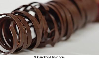 Sweet tubes - dessert. Chocolate tube for decoration,...