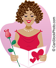 Sweet Valentine - Illustration of a blushing young woman...