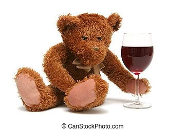 Sweet Valentine - Teddy bear with glass of wine on a white...