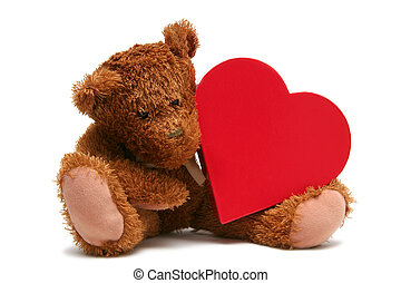 Sweet Valentine - Teddy bear with heart shaped box on a...