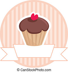 Sweet vector retro chocolate and toffee muffin cupcake with red heart and pink strips vintage background with white place for your own text. Wedding card invitation isolated on white. I love sweets!