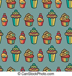 Sweet vector seamless pattern with cupcakes. Cute endless background in gentle colors. Cake, ice cream isolated.