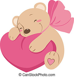 Sweet vector Teddy bear with heart icon