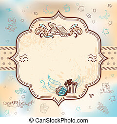 Vector card for greeting, wedding, birthday invitation with cupcakes and chocolate cats