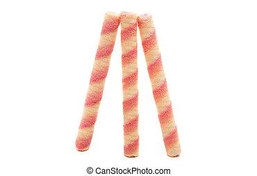 Sweet wafel sticks isolated