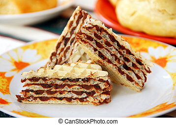 three pieces of sweet homemade wafer cakes