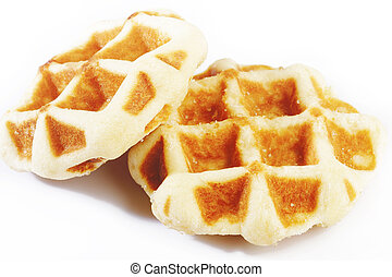 sweet waffles on white background