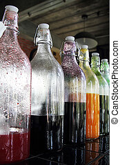 Sweet water to mix soda in glass bottle