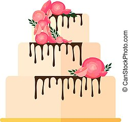 Sweet wedding cakes with floral decoration isolated on a white background.