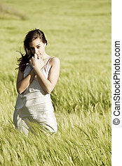 Sweet woman on field
