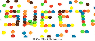 Sweet word written with colorful button shaped chocolates candy isolated