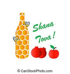 'sweet, year'-, tova, medios, shana, judío, nuevo, feriado