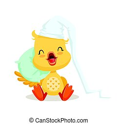 Sweet yellow duckling sleeping on a pillow, emoji cartoon character vector Illustration