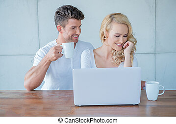 Sweet Young Couple Having Coffee Time