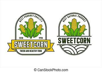 Sweetcorn fresh and healthy food vector design logo