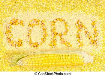 Sweetcorn groats - Raw ripe sweetcorn with groats and flour...