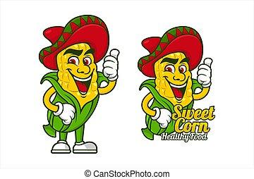 Sweetcorn healthy food mascot vector design.eps