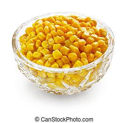 Sweetcorn in crystal bowl