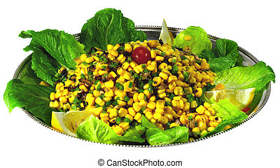 Sweetcorn salad - A salad of sweetcorn and capsicum on a bed...