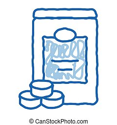 Sweetener Bottle sketch icon vector. Hand drawn blue doodle line art Sweetener Bottle sign. isolated symbol illustration