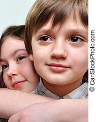 sweethearts children romance - close-up portrait of a sweet...