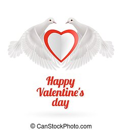 Sweethearts - Two white doves holds white-red heart in wings...