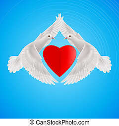 Sweethearts - Two white doves form the shape of the wings of...