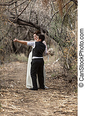 Sweethearts Dancing in Woods
