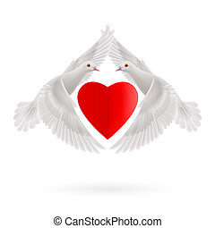 Sweethearts - Red heart between two white  flying doves