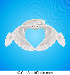 Sweethearts - Two white doves makes form the shape of the...
