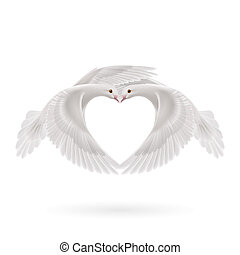 Sweethearts - Two white doves makes the shape of the wings...