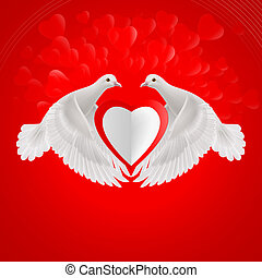 Sweethearts - Two white doves holds white heart in wings