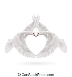 Sweethearts - White doves makes the shape of the wings of...