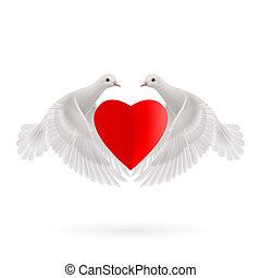Sweethearts - White two doves holds red heart in wings